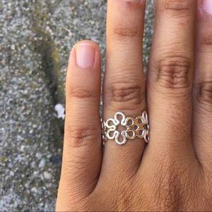 Peruvian Silver Infinity Flower Ring
